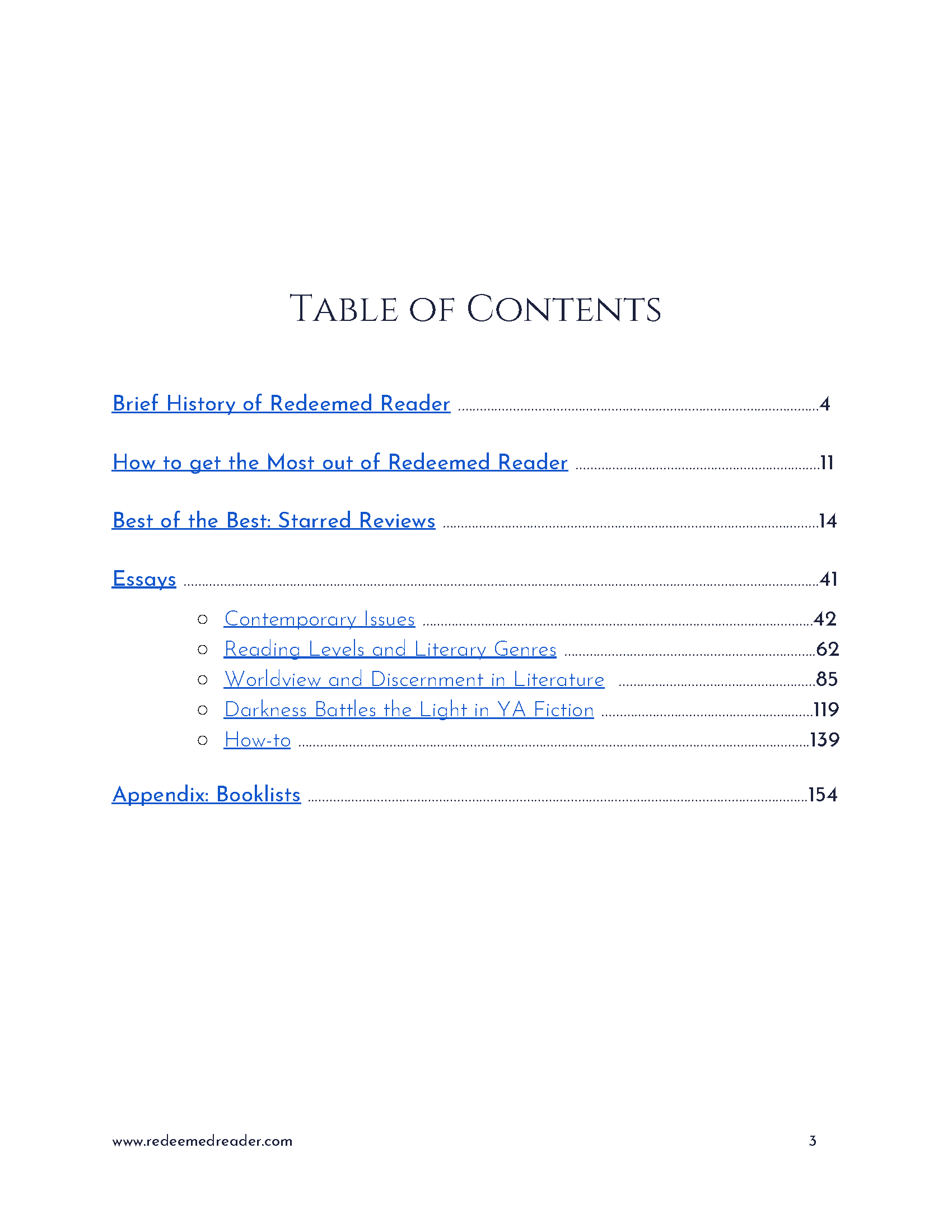Redeemed Reader Companion Table of Contents