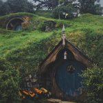 a blue hobbit door